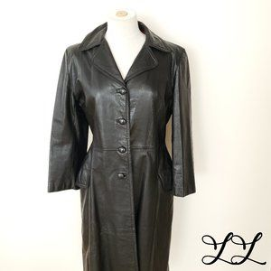 Vintage Leather Trench Coat 70s Black Buttons Long